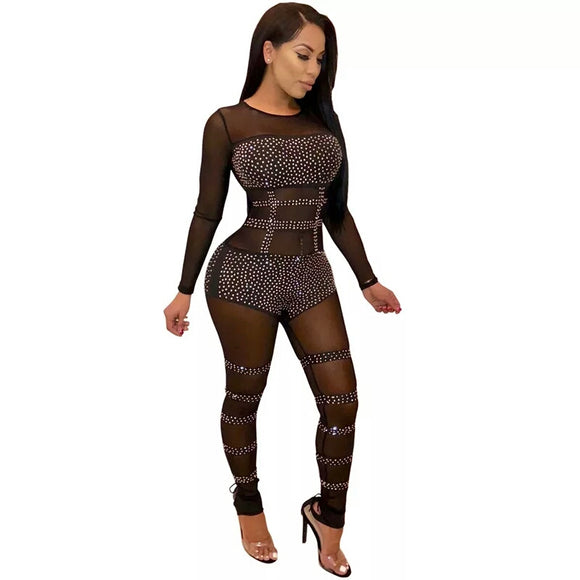 Perspective Crystal Mesh Jumpsuit