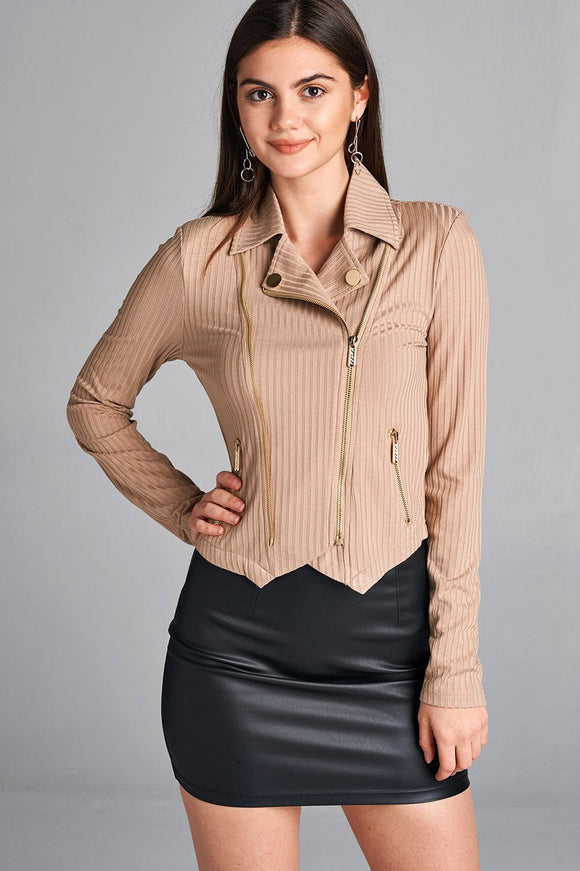 Ladies Long Sleeve Zipper Detail Rib Fitted Jacket