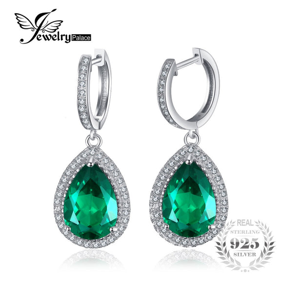 Luxury Pear Cut 8.4Ct Green Created Emerald Earrings  Earrings
