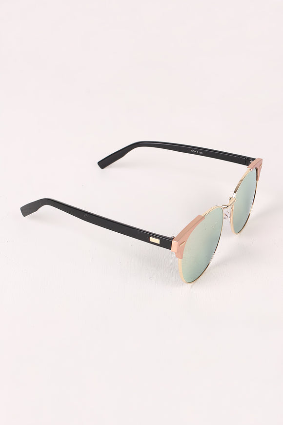 Round Mirrored Lens Cat Eye Clubmaster Sunglasses