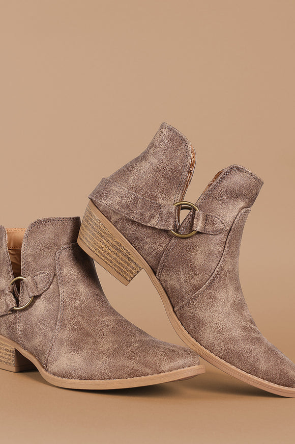 Qupid Distressed V-Cut Buckled Strap Booties