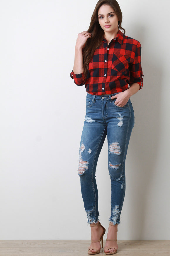 Torn Distressed Skinny Denim Jeans