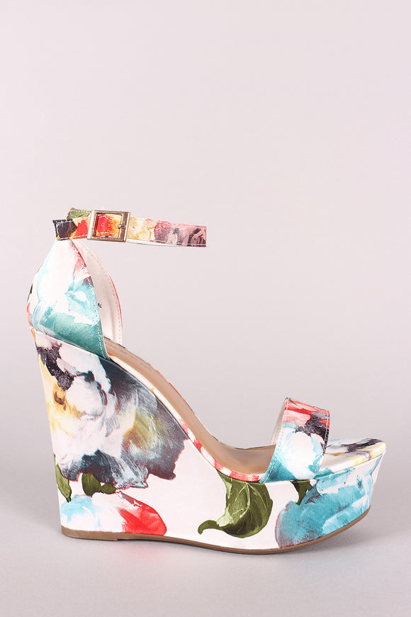 Bamboo Floral Print Ankle Strap Platform Wedge
