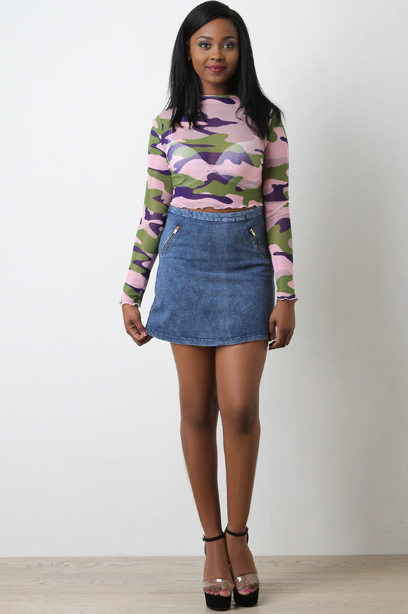 9c16662785 Denim High Waisted Zipper Accent Mini Skirt