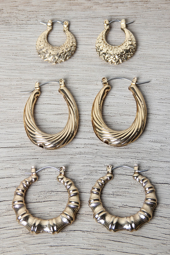 Bamboo Hoop Earrings Set