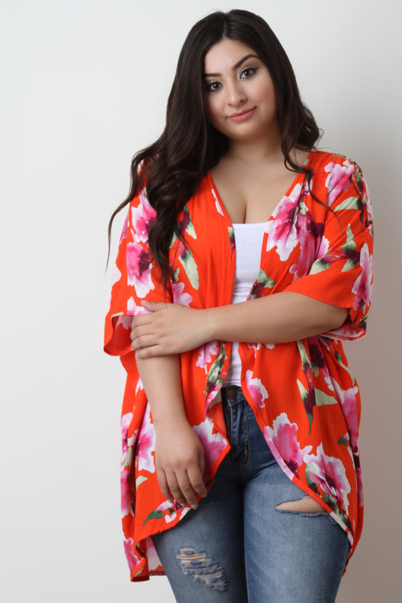 Vibrant Floral Print Open Front Cardigan