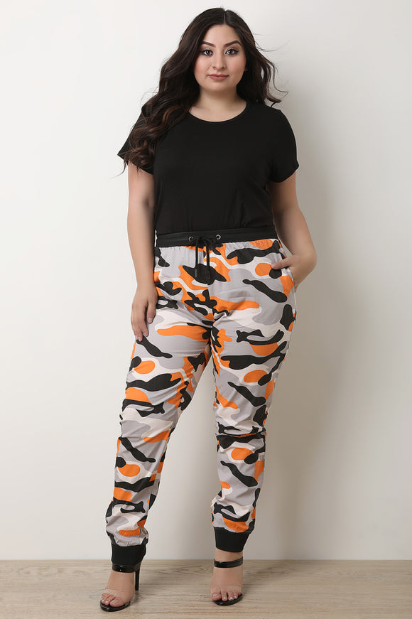 Camouflage Print High Waisted Jogger Pants