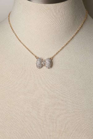 Rhinestone Bow Necklace