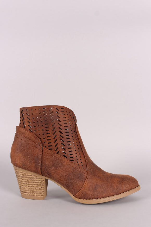 Qupid Distressed Perforated Almond Toe Booties