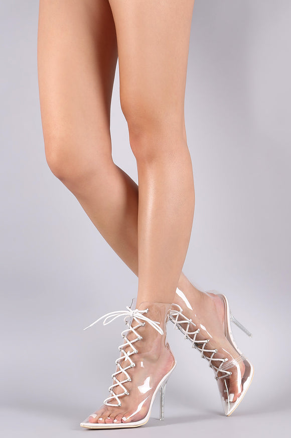 Transparent Lace Up Pointy Toe Booties