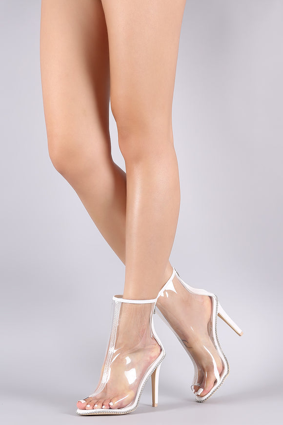 Transparent Peep Toe Beaded Trim Stiletto Booties