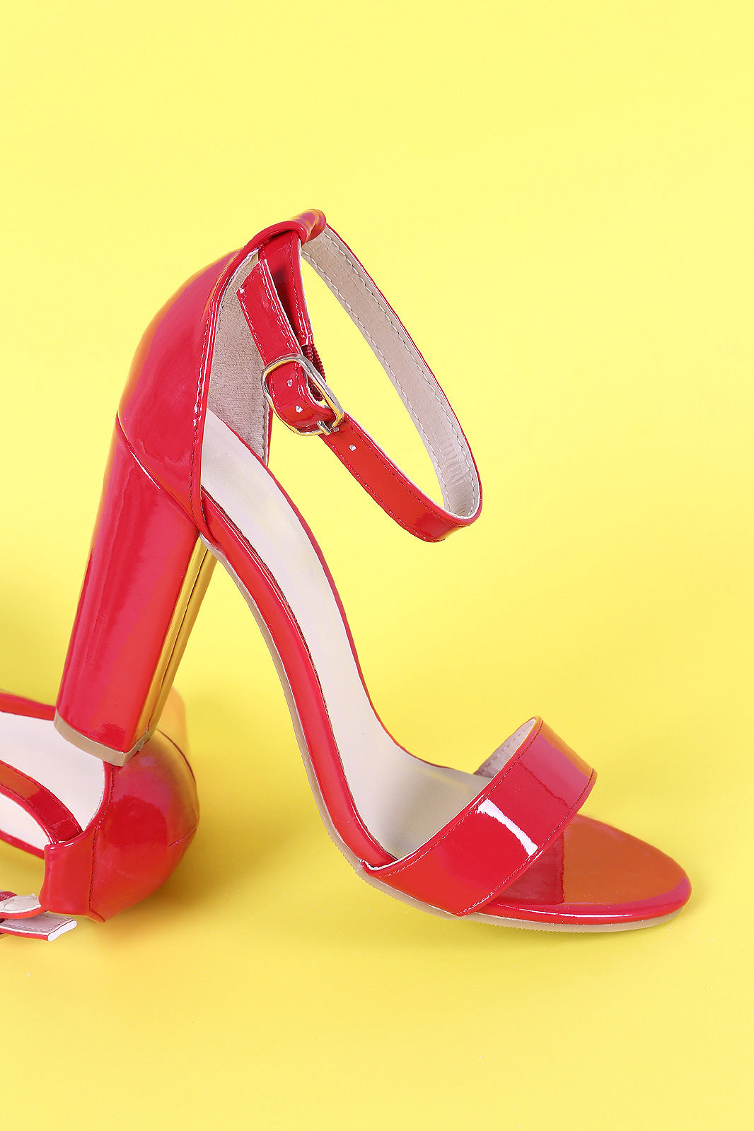 3a35d51b2e26 Bamboo Patent Leather Open Toe Ankle Strap Chunky Heel – Eliza s ...