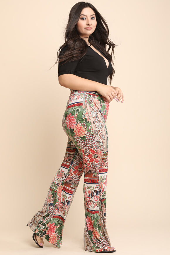 Mixed Floral Print High Rise Wide Leg Pants