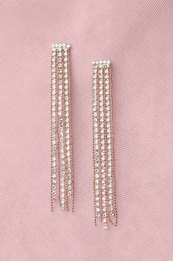 Beaded Rhinestone Duster Earrings
