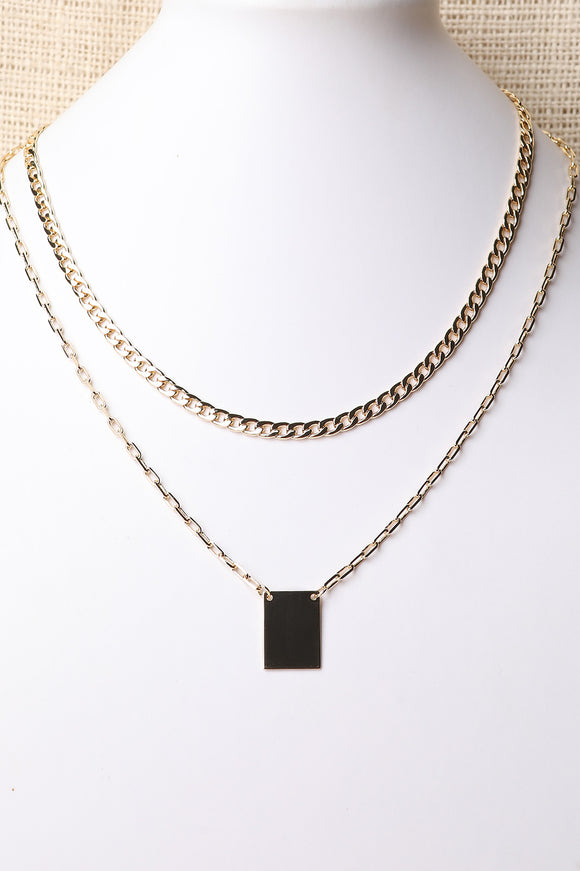 Rectangle Pendant Layered Necklace