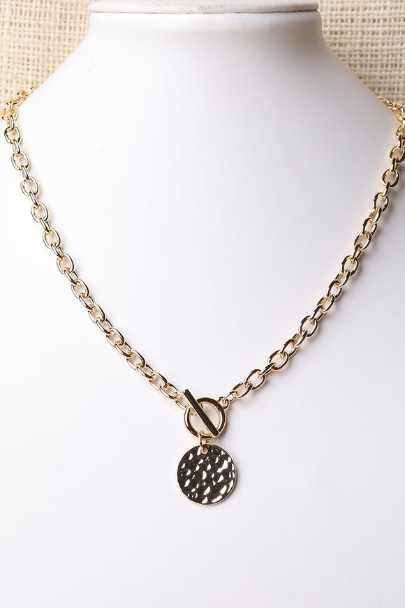 Hammered Disc Oval-Link Necklace