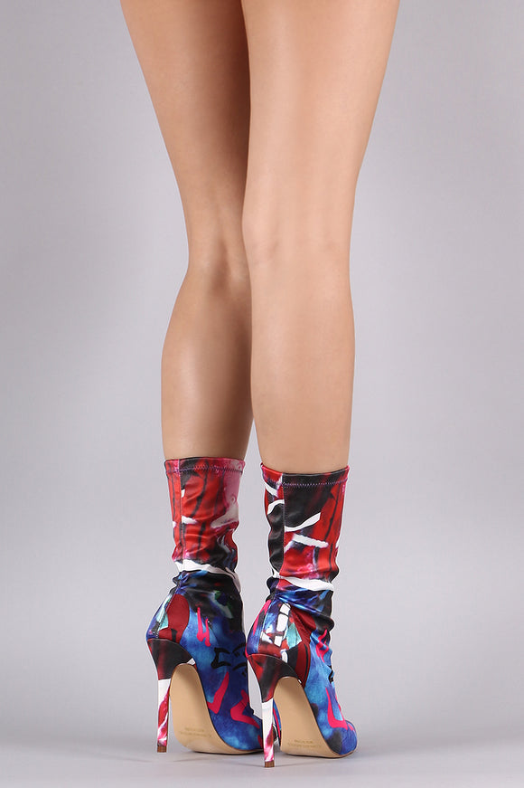 Liliana Abstract Print Elastane Pointy  Boots