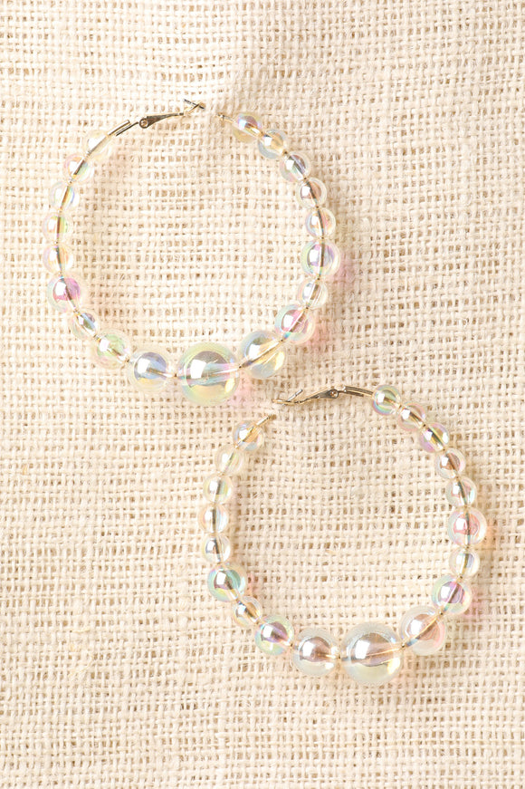 Clear Beaded Hoop Earrings