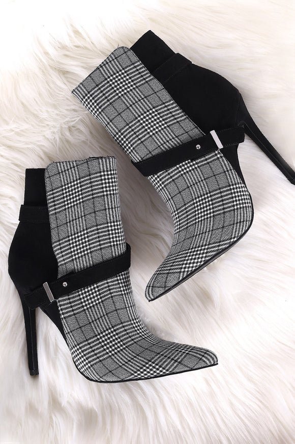 Shoe Republic LA Glen Plaid Pointy Toe Suede Stiletto Booties