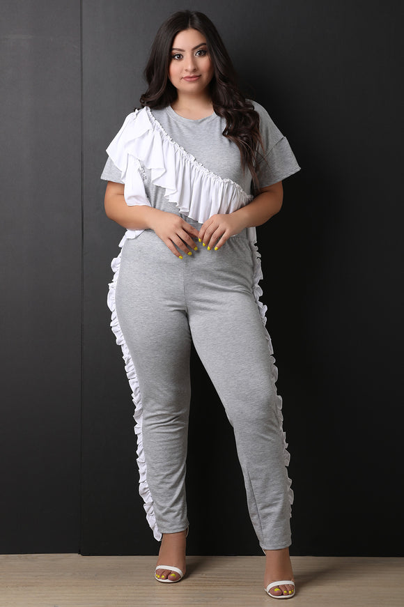Ruffle Sash Top with Ruffle Trim Pants Set