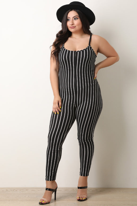 Striped Scooped Neckline Sleeveless Jumpsuit