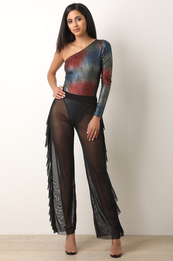 Ruffle Side Sheer Mesh Cover-Up Pants