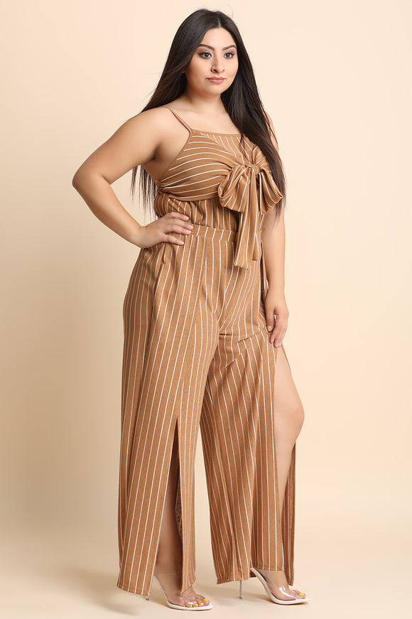 Two-Piece Pin Striped Crop Top With Tulip Slit Palazzo Pants Set