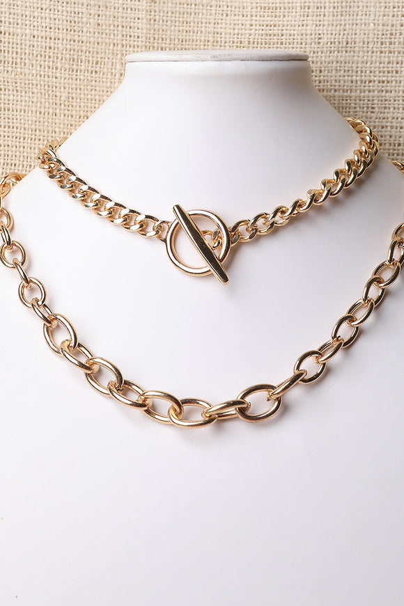 Oval-Link Toggle Necklace Set