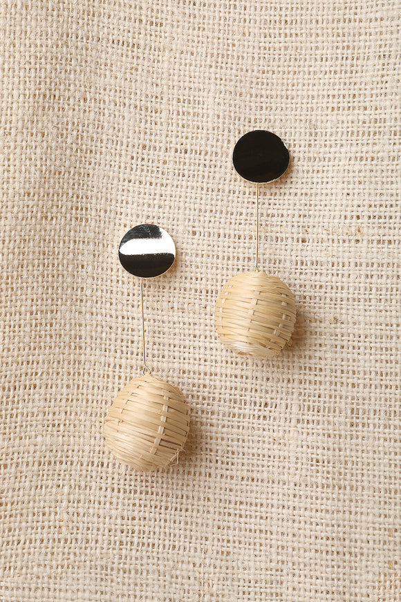 Woven Straw Ball Drop Earrings