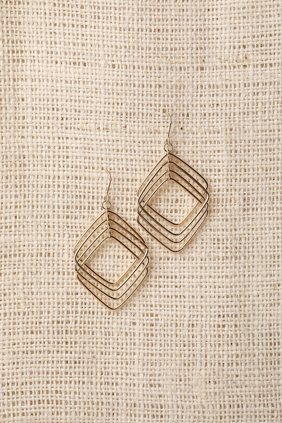 Square Tier Dangle Earrings
