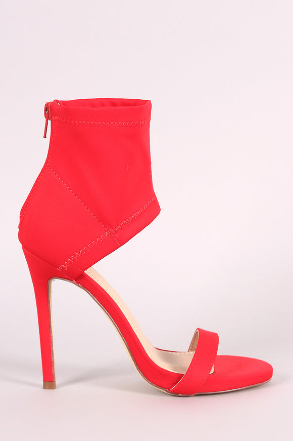 Elastane Ankle Cuff Open Toe Stiletto Heel