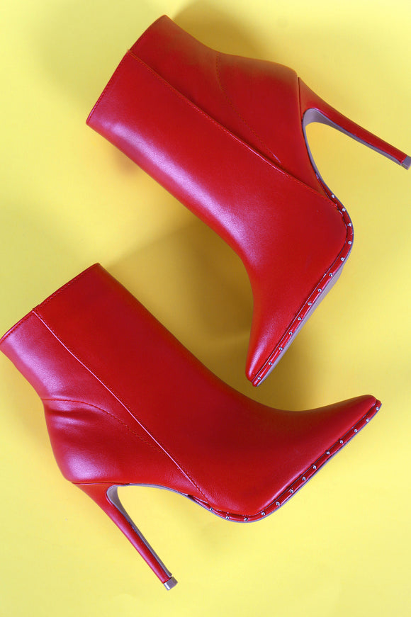 Qupid Vegan Leather Stiletto Booties
