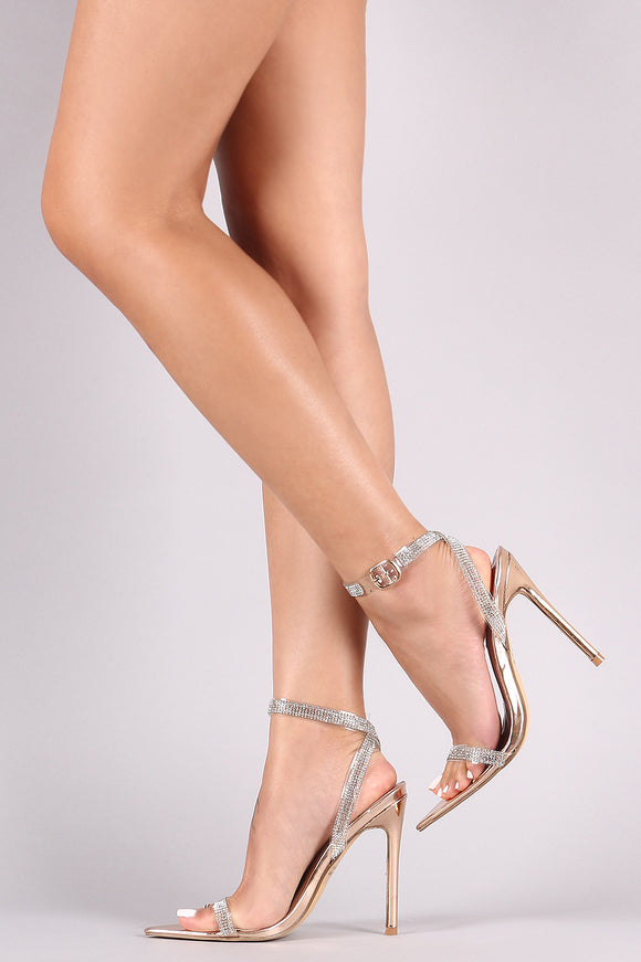 Patent Rhinestone Accent Ankle Strap Pointed Open Toe Heel