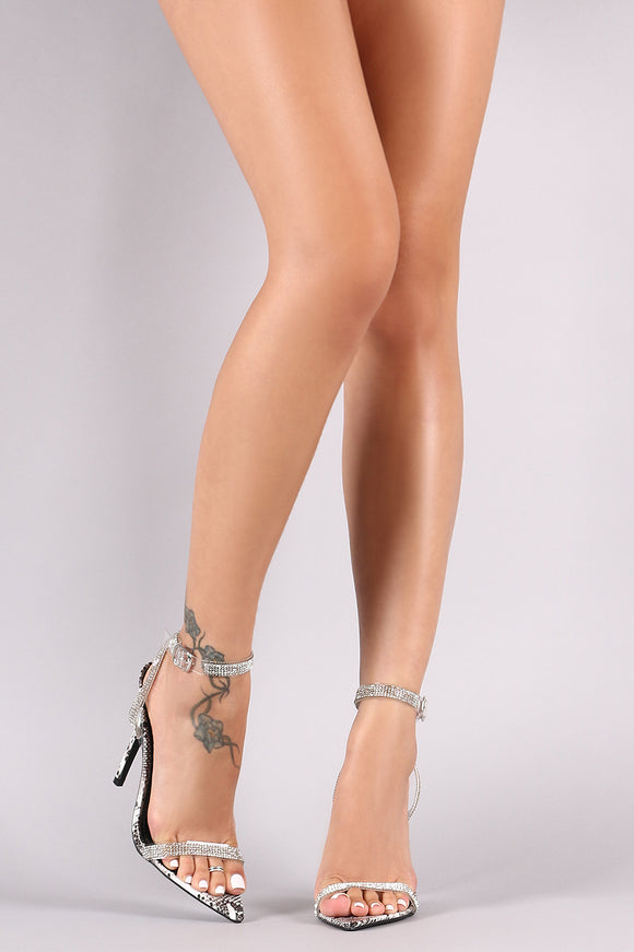 Python Rhinestone Accent Ankle Strap Pointed Open Toe Heel