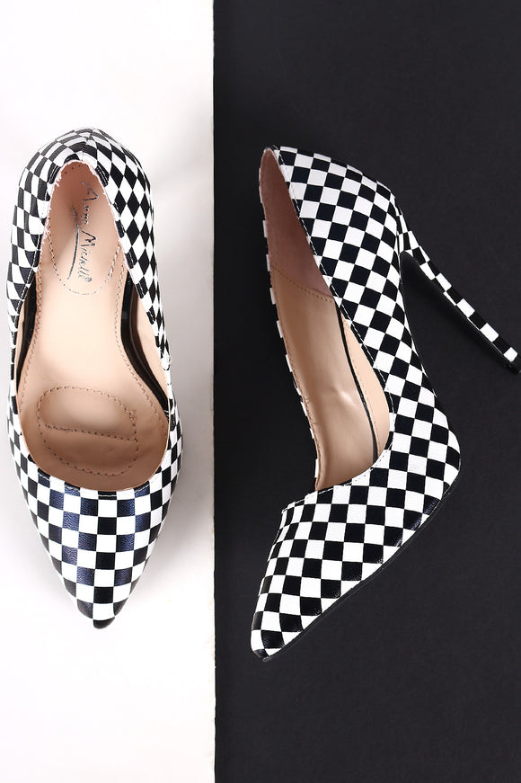 Anne Michelle Checkered Pointy Toe Stiletto Pump