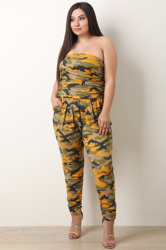 Camouflage Strapless Ruched Jumpsuit