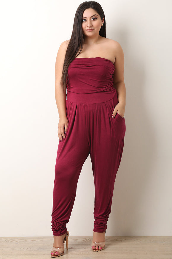 Strapless Ruched Tube Jumpsuit
