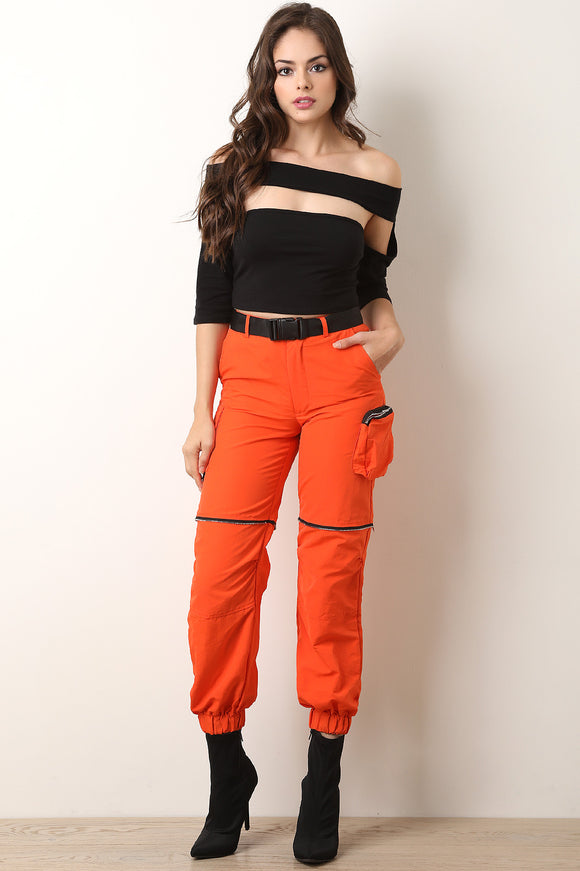 Zipper Trim Cargo Belted Jogger Pants