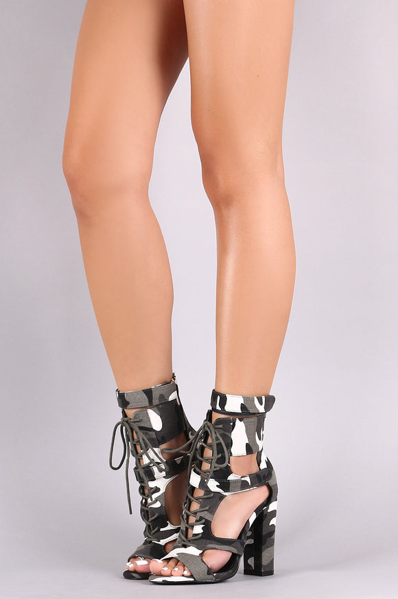 Camouflage Caged Lace-Up Open-Toe Chunky Heel