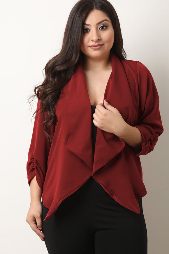 Shawl Collar Drape Open Front Ruched Sleeves Blazer