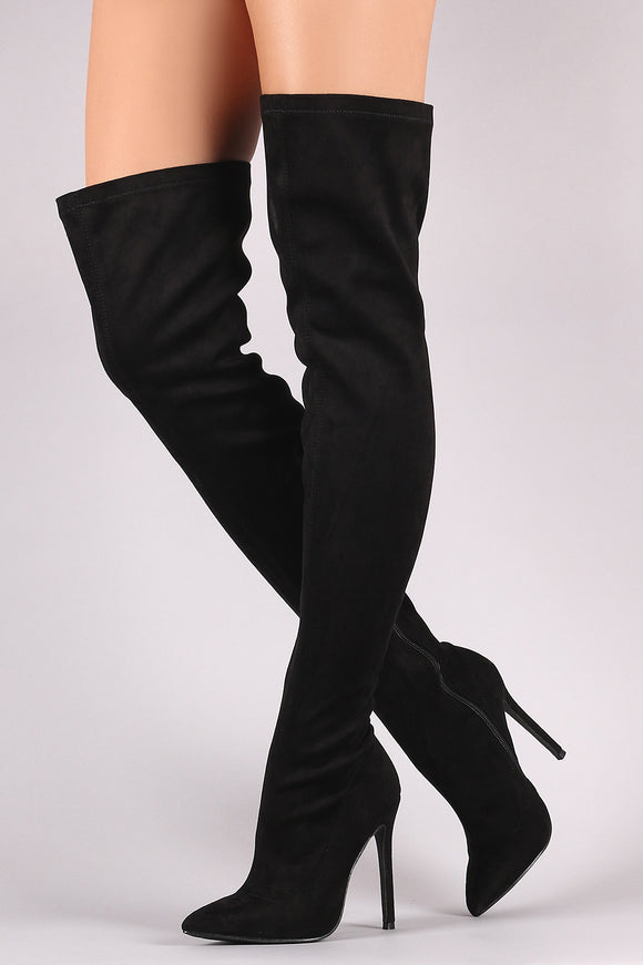 Vegan Suede Over Knee Boots
