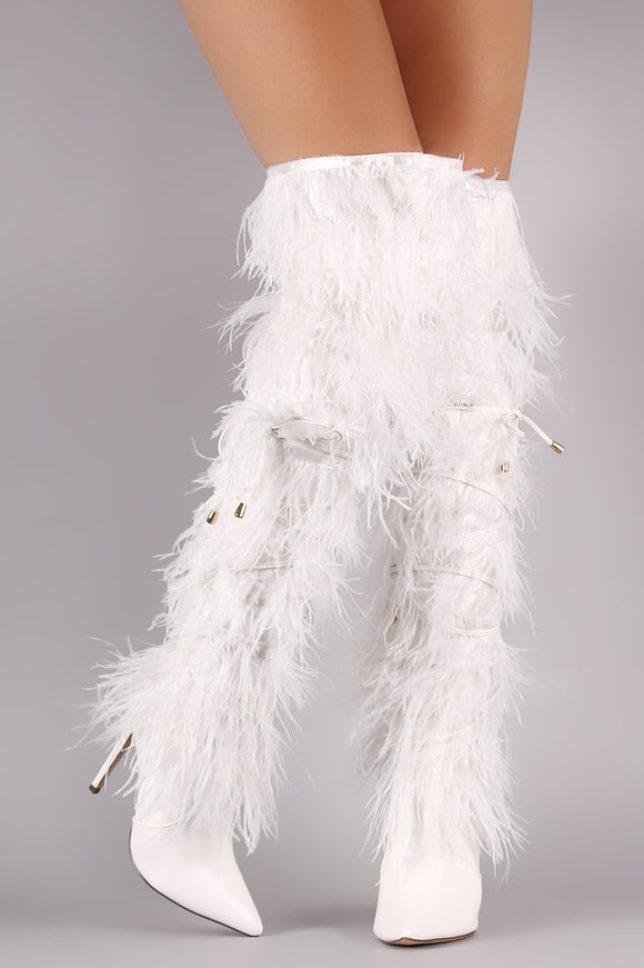 Liliana Feathered Fringe Over The Knee Pointy Toe Stiletto Boots