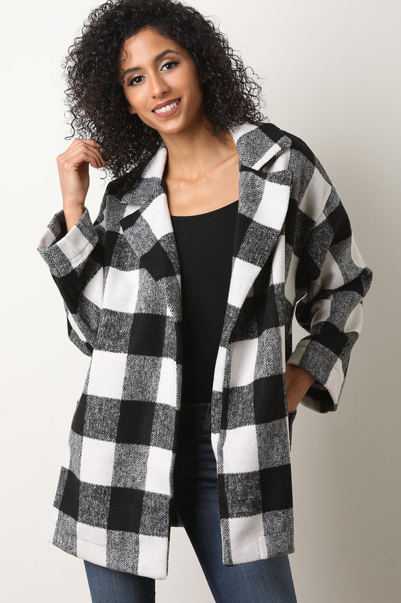 Plaid  Notched Collar Peacoat