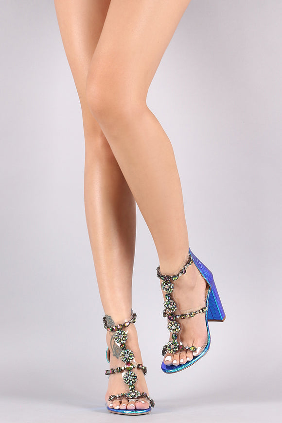 Liliana Clear Jewel Embellished T-Strap Stiletto Heel