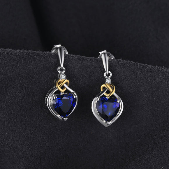 Heart-Shaped Created Sapphire Drop Earrings