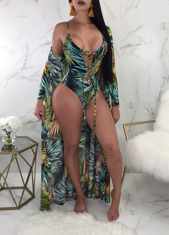 Tropical Cover Up Swimsuit Set