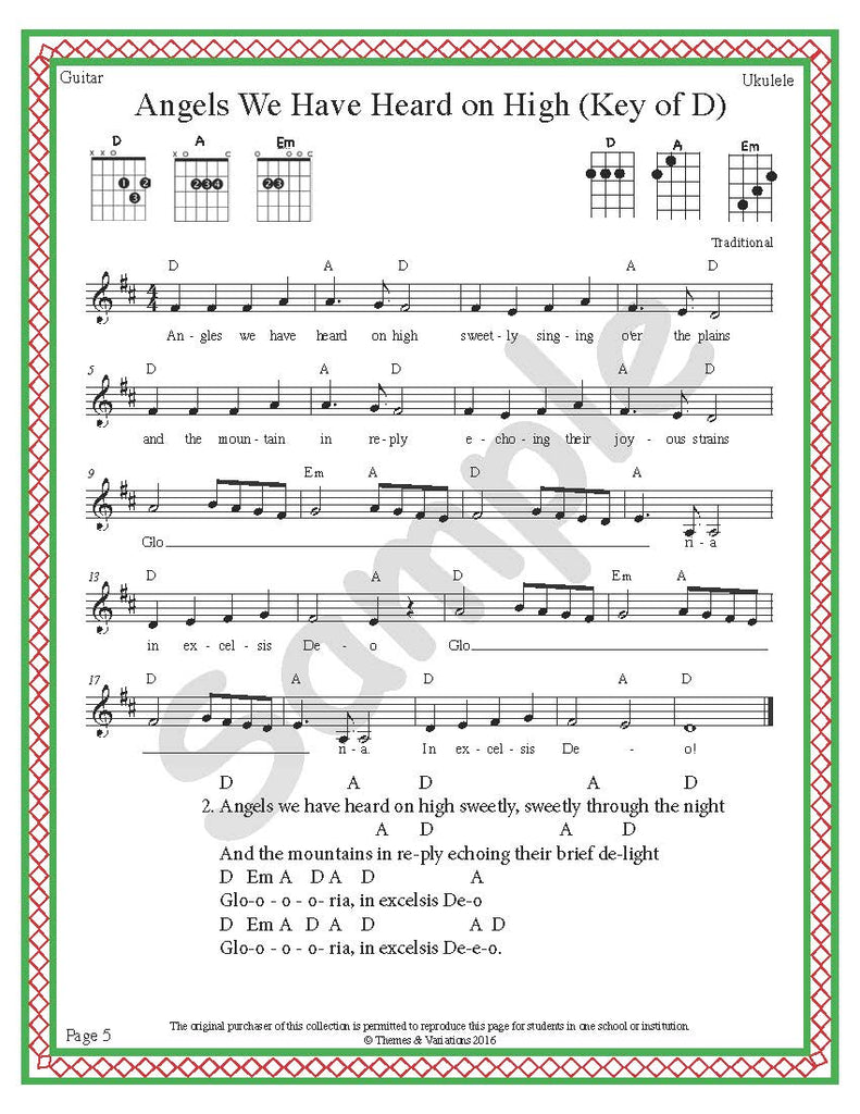 Holiday Songs For Guitar And Ukulele Themes And Variations