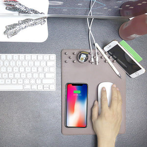 MULTI-FUNCTION ORGANIZER MOUSE PAD WITH WIRELESS CHARGING-WWW.NOVELTYHOMEONLINE.COM