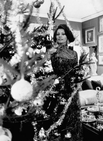 Sophia Loren at Christmas time in the 1950s