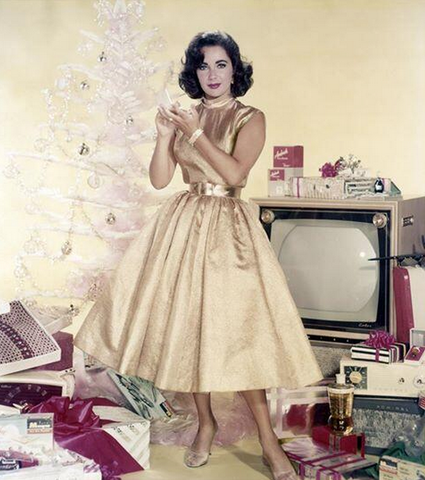 Elizabeth Taylor at Christmas time in the 1950s